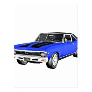 1968 Blue Muscle Car Postcard