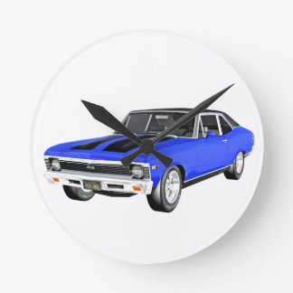 1968 Blue Muscle Car Round Clock