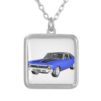 1968 Blue Muscle Car Silver Plated Necklace