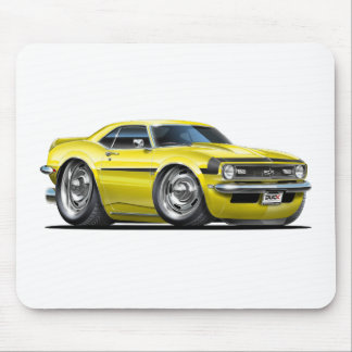 1968 Camaro Yellow-Black Car Mouse Pad