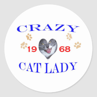 1968 Crazy Cat Lady Classic Round Sticker