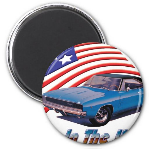 """1968 Dodge Charger """"Born in the USA"""" Refrigerator Magnets"""