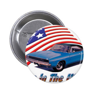 1968 Dodge Charger Born in the USA Pinback Buttons
