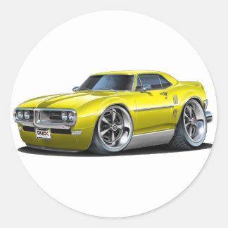 1968 Firebird Yellow Car Classic Round Sticker