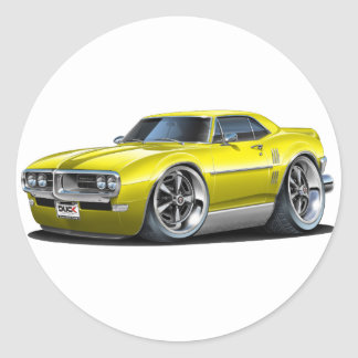 1968 Firebird Yellow Car Round Sticker