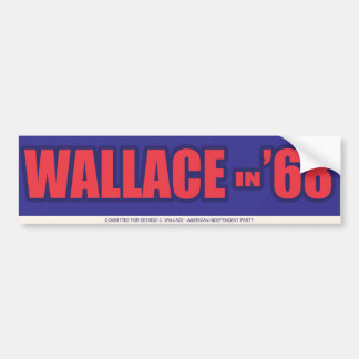"1968 George Wallace ""Wallace in 68"" Bumper Sticker"