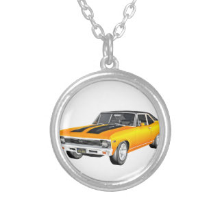 1968 Gold Muscle Car Silver Plated Necklace