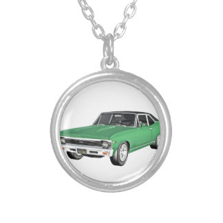 1968 Green Muscle Car Silver Plated Necklace