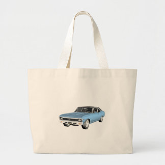 1968 Light Blue Muscle Cars Large Tote Bag