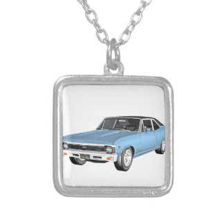 1968 Light Blue Muscle Cars Silver Plated Necklace