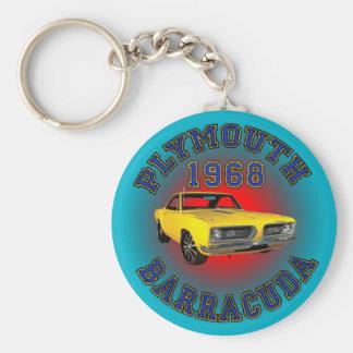 1968 Plymouth Barracuda Keychain. Basic Round Button Key Ring