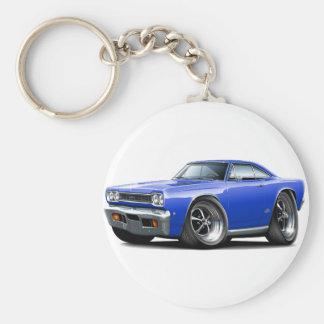 1968 Plymouth GTX Blue Car Basic Round Button Key Ring