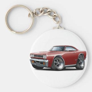 1968 Plymouth GTX Maroon Car Basic Round Button Key Ring