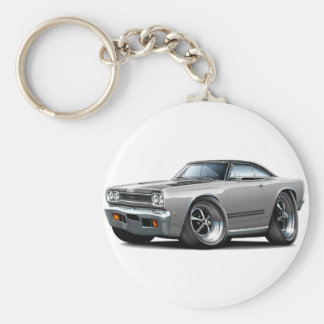 1968 Plymouth GTX Silver-Black Hood Car Basic Round Button Key Ring