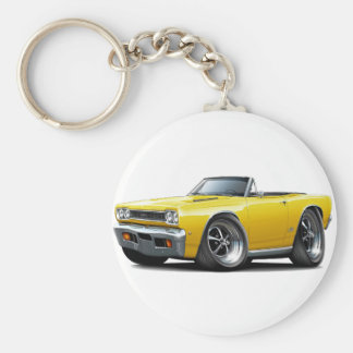 1968 Plymouth GTX Yellow Convert Basic Round Button Key Ring