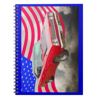 1968 Plymouth Roadrunner And American Flag Notebook