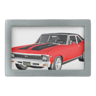 1968 Red Muscle Car Belt Buckles