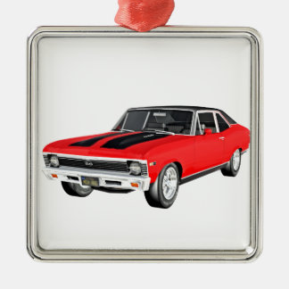 1968 Red Muscle Car Metal Ornament