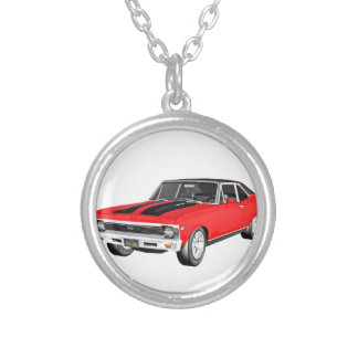 1968 Red Muscle Car Silver Plated Necklace