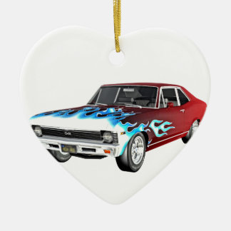 1968 Red White and Blue Muscle Car Ceramic Ornament