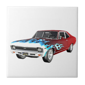 1968 Red White and Blue Muscle Car Ceramic Tile