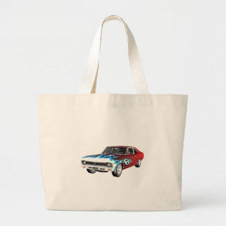 1968 Red White and Blue Muscle Car Large Tote Bag