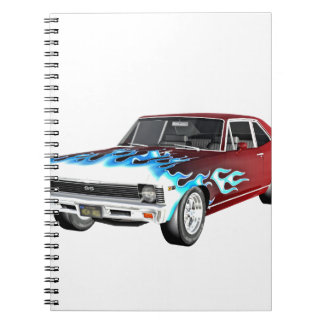 1968 Red White and Blue Muscle Car Notebooks