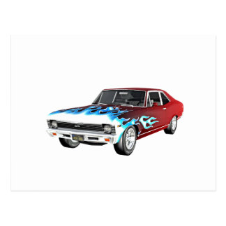 1968 Red White and Blue Muscle Car Postcard