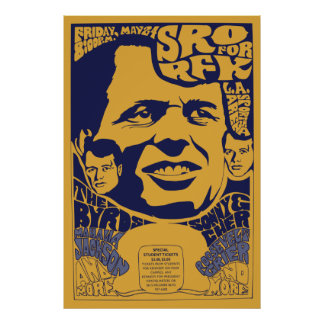 "1968 ""Standing Room Only"" RFK Psychedelic Poster"