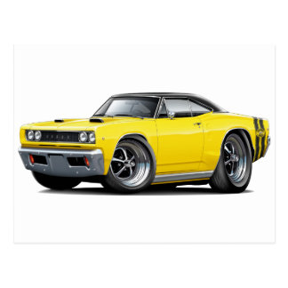 1968 Super Bee Yellow-Black Top Double Stripe Postcard
