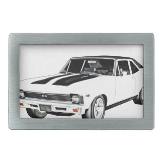 1968 White Muscle Car Belt Buckles