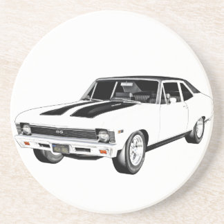 1968 White Muscle Car Coaster