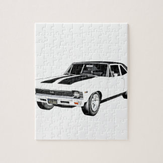 1968 White Muscle Car Jigsaw Puzzle