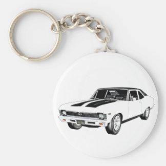1968 White Muscle Car Key Ring
