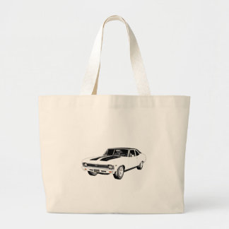 1968 White Muscle Car Large Tote Bag