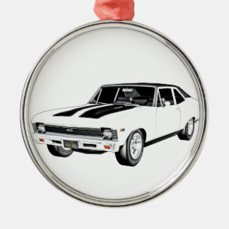 1968 White Muscle Car Metal Ornament