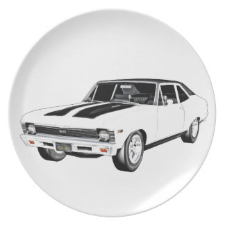 1968 White Muscle Car Plate