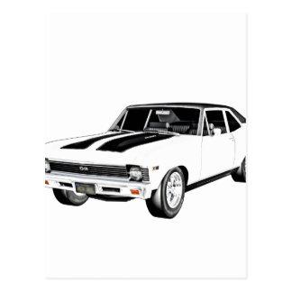 1968 White Muscle Car Postcard