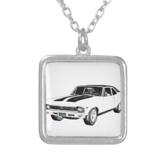 1968 White Muscle Car Silver Plated Necklace