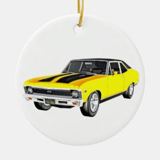 1968 Yellow Muscle Car Ceramic Ornament