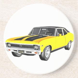 1968 Yellow Muscle Car Coaster