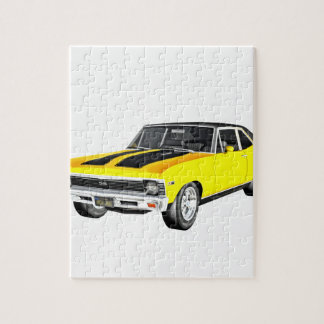 1968 Yellow Muscle Car Jigsaw Puzzle