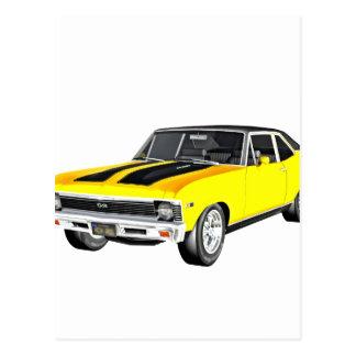 1968 Yellow Muscle Car Postcard