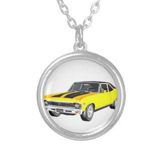 1968 Yellow Muscle Car Silver Plated Necklace