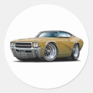1969 Buick GS Gold-Black Top Car Classic Round Sticker