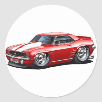 1969 Camaro Red-White Car Classic Round Sticker