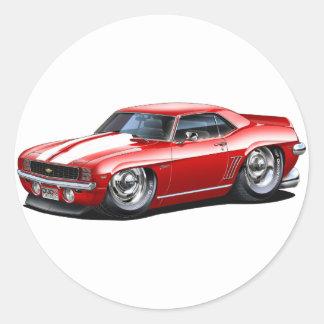 1969 Camaro Red-White Car Classic Round Sticker