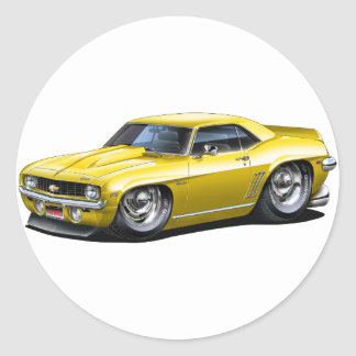 1969 Camaro SS Yellow Car Classic Round Sticker