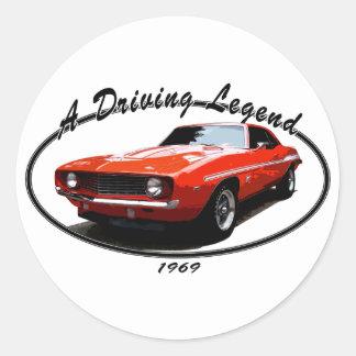 1969_camaro_yenko_orange round sticker