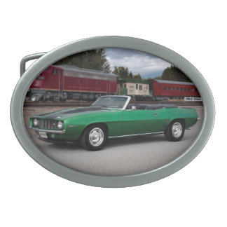 1969 Chevy Camaro Convertible Classic Car Oval Belt Buckles